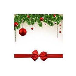 Foto naklejka samoprzylepna 100 x 100 cm - Boże Narodzenie w tle z gałęzi jodłowych i kulki.