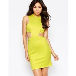 Twin Sister Cut Out Waist Bodycon Dress - Yellow