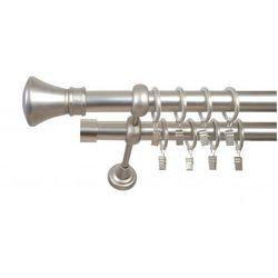 Karnisz Podwójny ELA Ø25/19 mm Liberty : dlugosc karniszy - 340 cm, Rodzaj - Metalowy, typ karnisza - Podwójny, Kolor Karnisza - Antyczny Mosiądz, Mocowanie - Ścienne
