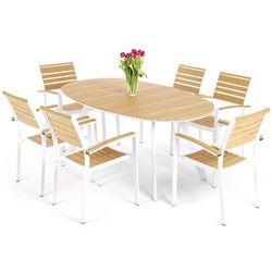 Meble ogrodowe HOME&GARDEN 889684 Lorenzo aluminiowe Biało-Teak + DARMOWY TRANSPORT!