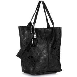 2eb7d833731f6 Genuine Leather Torebki Skórzane Uniwersalny ShoppeBag wzór Motyli Czarne  (kolory)