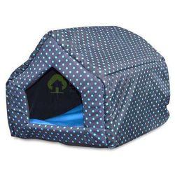 Legowisko domek dla psa kota L niebieskie kropki
