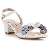 3add2913 Buty Damski Sandały na obcasie ze wzorem w kwiaty renomowanej marki Lady  Glory Białe (kolory
