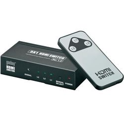 Rozdzielacz splitter HDMI, Goobay, 3 x IN => 1 x OUT, pozłacane wtyki, 3D, pilot