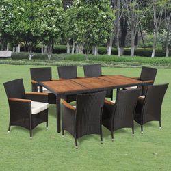 vidaXL Wiklinowy zestaw ogrodowy 8 krzese? i stó? z drewnianym blatem Darmowa wysy?ka i zwroty