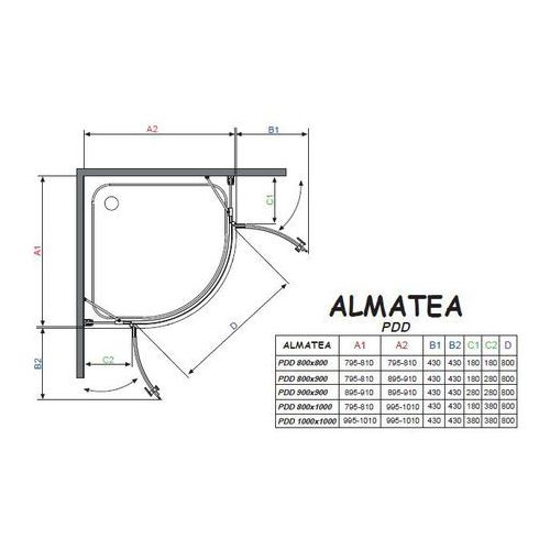 Radaway Almatea pdd  90 x 90 (30502-01-01N)