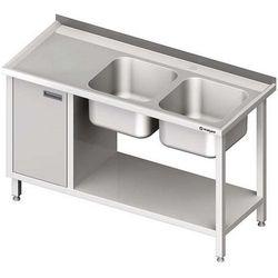 Stół ze zlewem dwukomorowym z szafką i półką STALGAST 1400x700x850 prawy
