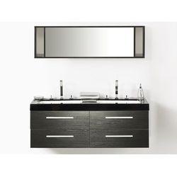 Meble łazienkowe czarne - szafka podwieszana 2 x umywalka - MALAGA
