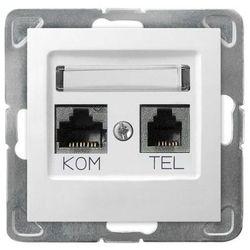 Ospel Impresja Gniazdo komputerowo RJ45 kat.5e + telefoniczne RJ11 KRONE biały GPKT-Y/K/m/00