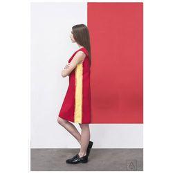 Sukienka czerwona z żółtym detalem