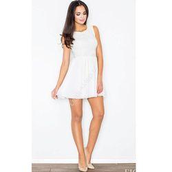 Klasyczna sukienka z koronką, ecru K007