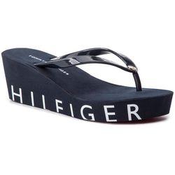b5ba08c315461 Japonki TOMMY HILFIGER - Hilfiger Wedge Beach Sandal FW0FW04057 Midnight 403