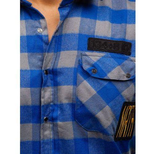 Koszula męska flanelowa z długim rękawem niebiesko szara  zwCJ2