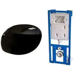 vidaXL Miska WC owalna, podwieszana, nietypowy kształt, czarna Darmowa wysyłka i zwroty