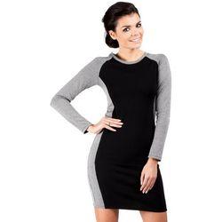 Klasyczna Sukienka z Długim Rękawem z Czarnym Panelem -Model-1