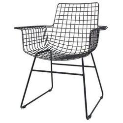 HK Living Krzesło metalowe WIRE czarne z podłokietnikami FUR0020