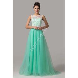 Sukienka na wesele, studniówkę | turkusowa sukienka z gipiurą