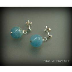 Kolczyki - wiszące sztyfty z kulek niebieskich