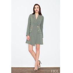 Zielona Szykowna Sukienka Płaszczowa ze Złotymi Guzikami