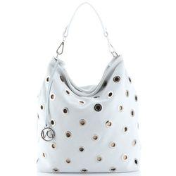 4309568db0102 Modna Torebka Skórzana typu Shopper Bag wykonana z wysokiej jakości zamszu  naturalnego firmy Vittoria Gotti Biała