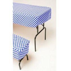 Rovens.pl Komplet pokrowców na stół i 2 ławki, niebiesko - białe