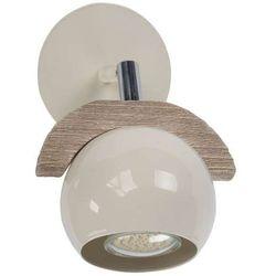 Kinkiet LAMPA ścienna SIG32553 drewniana OPRAWA sufitowa kula ball beżowa