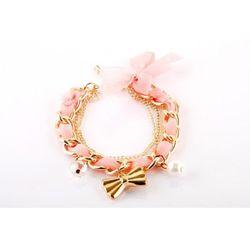 Bransoletka z zawieszkami - różowa