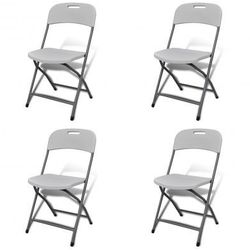 Białe składane krzesła ogrodowe 4 szt. trwały HDPE Zapisz się do naszego Newslettera i odbierz voucher 20 PLN na zakupy w VidaXL!