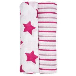 Lassig Muślinowa pieluszka / Chusta XL Stars & Stripes różowa