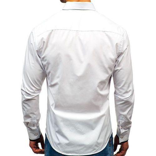 9746bd4446d5ef Koszula męska elegancka z długim rękawem biało-czarna Bolf 1747 ...