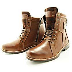 KENT 237 BRĄZ - Wysokie męskie buty zimowe ze skóry