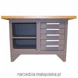 Stół warsztatowy z SZAFKA i POLKA, 5-szufladowy