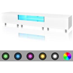 vidaXL Stojak na telewizor, biały, LED, 200 cm Darmowa wysyłka i zwroty