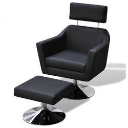Regulowany fotel do oglądania TV ze sztucznej skóry z podnóżkiem, czarny Zapisz się do naszego Newslettera i odbierz voucher 20 PLN na zakupy w VidaXL!