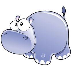 Hipopotam - drukowana naklejka wycięta po obrysie