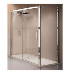 Drzwi prysznicowe przesuwane Novellini Kuadra 2P 156-162 cm lewe, profil chrom, szkło przeźroczyste KUAD2P156S-1K