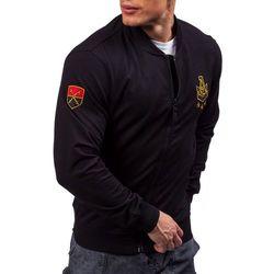 Czarna bluza męska bez kaptura z nadrukiem Denley 0491 - CZARNY