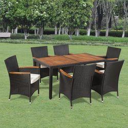 vidaXL Wiklinowy zestaw ogrodowy 6 krzese? i stó? z drewnianym blatem Darmowa wysy?ka i zwroty