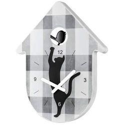 Zegar scienny czarno-biała krata Toc Toc KZ-2329100