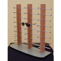 37afd9c2 stojak na okulary 24 pary - potrójny, drewnopodobny na szarej podstawie