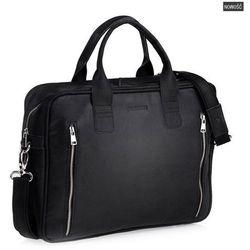 Elegancka torba męska na ramię ze skóry Czarna