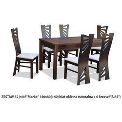 Zestaw Ares 52 Stół 80x140(+40) 6 krzeseł A84