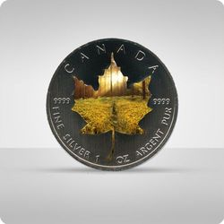 "Kanadyjski Liść Klonowy 1 uncja srebra - kolor ""lato"""