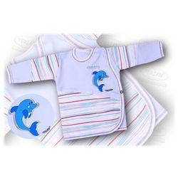 Kaftanik niemowlęcy zapinany z boku Aqua 68 niebieski
