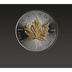 Kanadyjski Liść Klonowy 1 uncja srebra platerowana złotem i rutenem