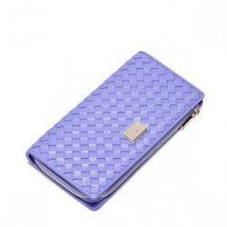Pleciony portfel skórzany Purpurowy