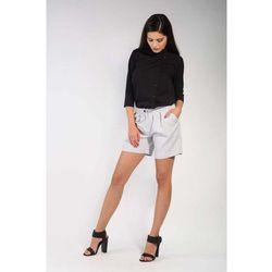 Szare krótkie materiałowe spodnie szorty
