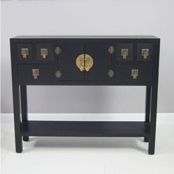 Konsola w stylu azjatyckim, szuflady, półka, metalowe okucia, czarny matowy.
