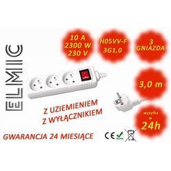 Przedłużacz elektryczny listwa z włącznikiem - 3.0 mb - WS NF 03 K / 3.0 / 1.0 / K - ELMIC biały