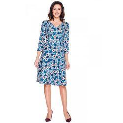 Turkusowa sukienka w kwiaty - Bialcon